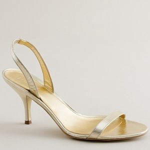 J. Crew Ginger Gold Metallic Strappy Slingbacks